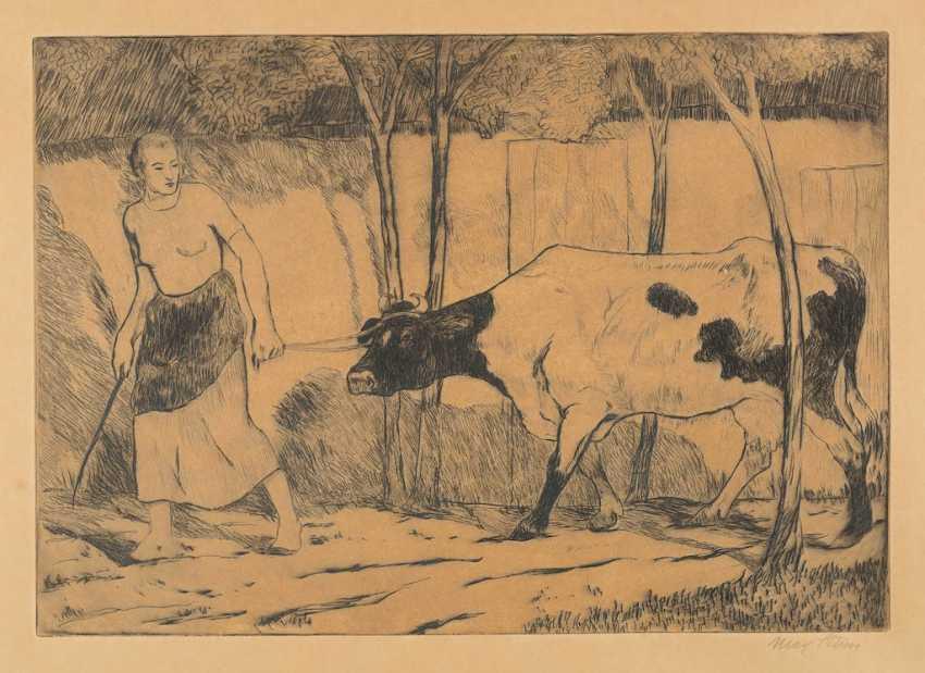 МАКС ЗВЕЗДА 1872 Дюссельдорф - 1943 там же КРЕСТЬЯНКА С КОРОВОЙ - фото 1