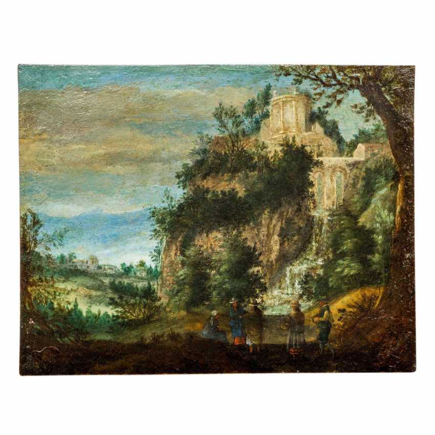 """BRUEGHEL, Jan I, ATTRIBUTED to/CIRCLE (J. B.: Brussels 1568-1625 Antwerp), """"landscape with people in front of a waterfall"""", - photo 1"""
