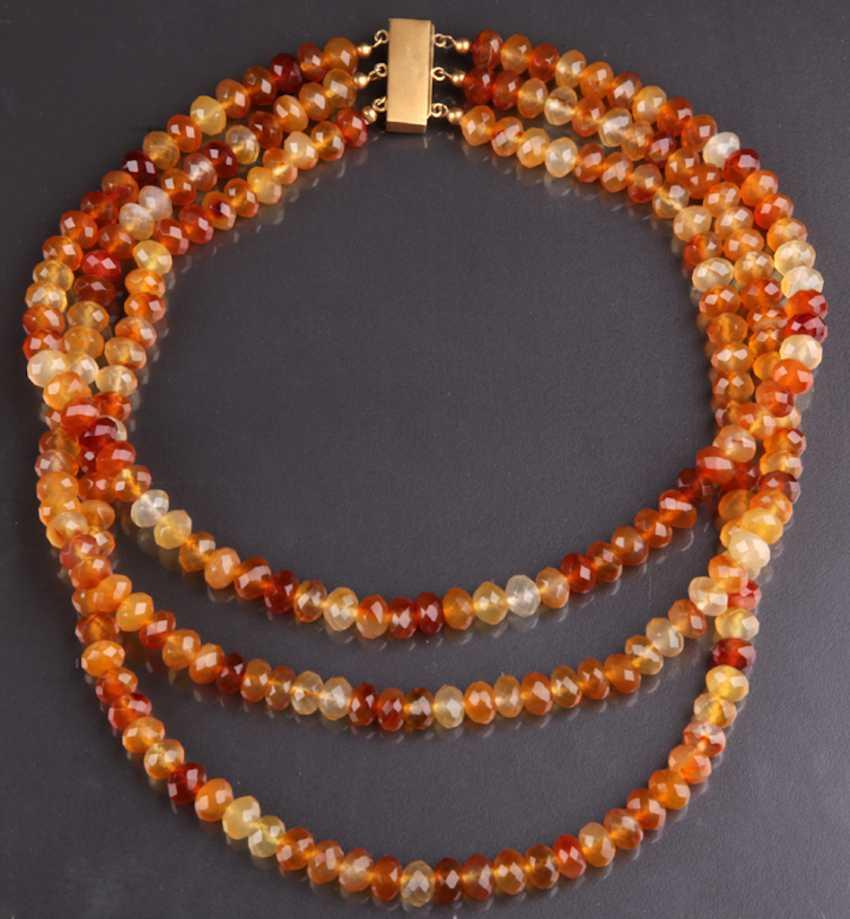 Exceptional Three-Row carnelian necklace handmade lock 333 - photo 1