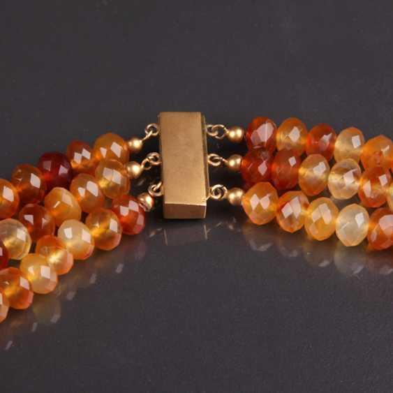 Exceptional Three-Row carnelian necklace handmade lock 333 - photo 2