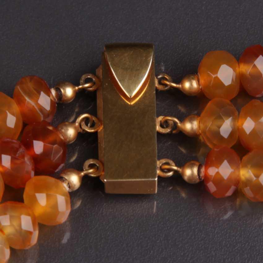 Exceptional Three-Row carnelian necklace handmade lock 333 - photo 3
