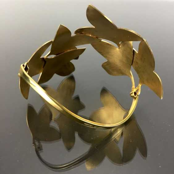 Special Hand Work Bangle, Ivy Leaves, Yellow Gold 333. Unique. - photo 3