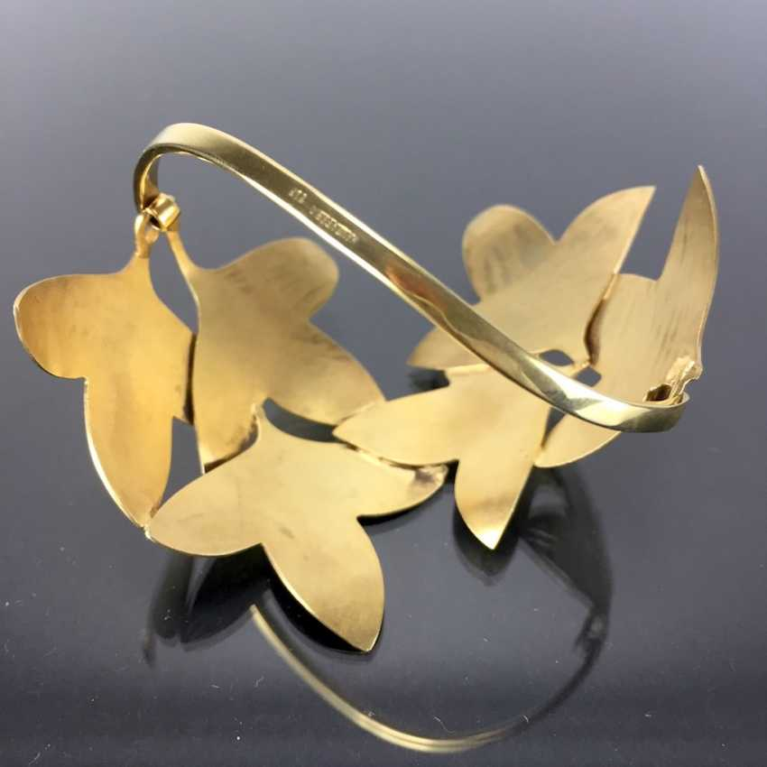 Special Hand Work Bangle, Ivy Leaves, Yellow Gold 333. Unique. - photo 4