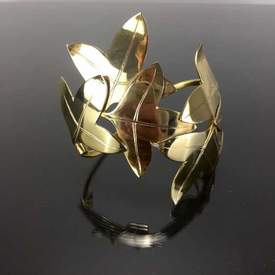 Special Hand Work Bangle, Ivy Leaves, Yellow Gold 333. Unique. - photo 7