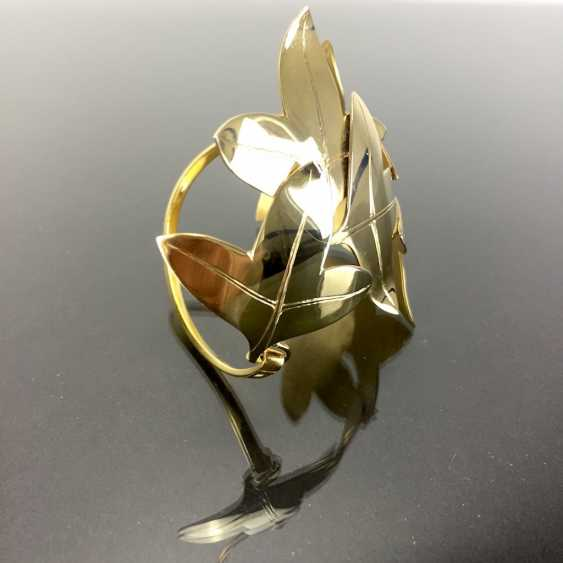 Special Hand Work Bangle, Ivy Leaves, Yellow Gold 333. Unique. - photo 8