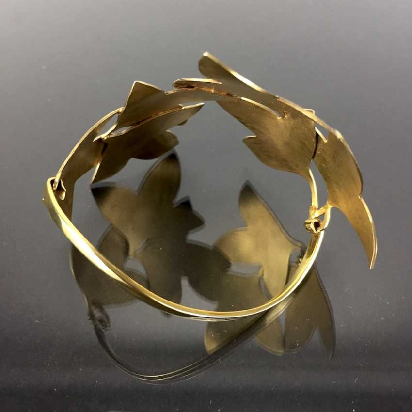 Special Hand Work Bangle, Ivy Leaves, Yellow Gold 333. Unique. - photo 11