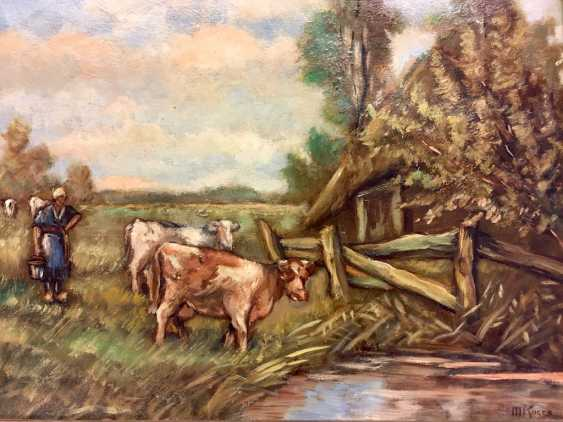 M. Koers: landscape with cows, Oil on canvas in the art Nouveau-style frame, 20. Century, very good. - photo 1