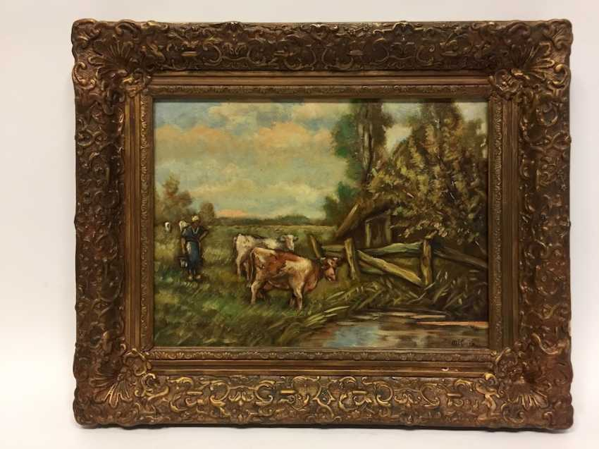 M. Koers: landscape with cows, Oil on canvas in the art Nouveau-style frame, 20. Century, very good. - photo 2
