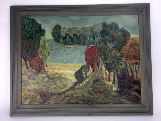 "Heidrun Herrmann (married H. force): ""a view to Klein Zicker, on Rügen"", 1982, Oil on hardboard in frame, very good - photo 2"