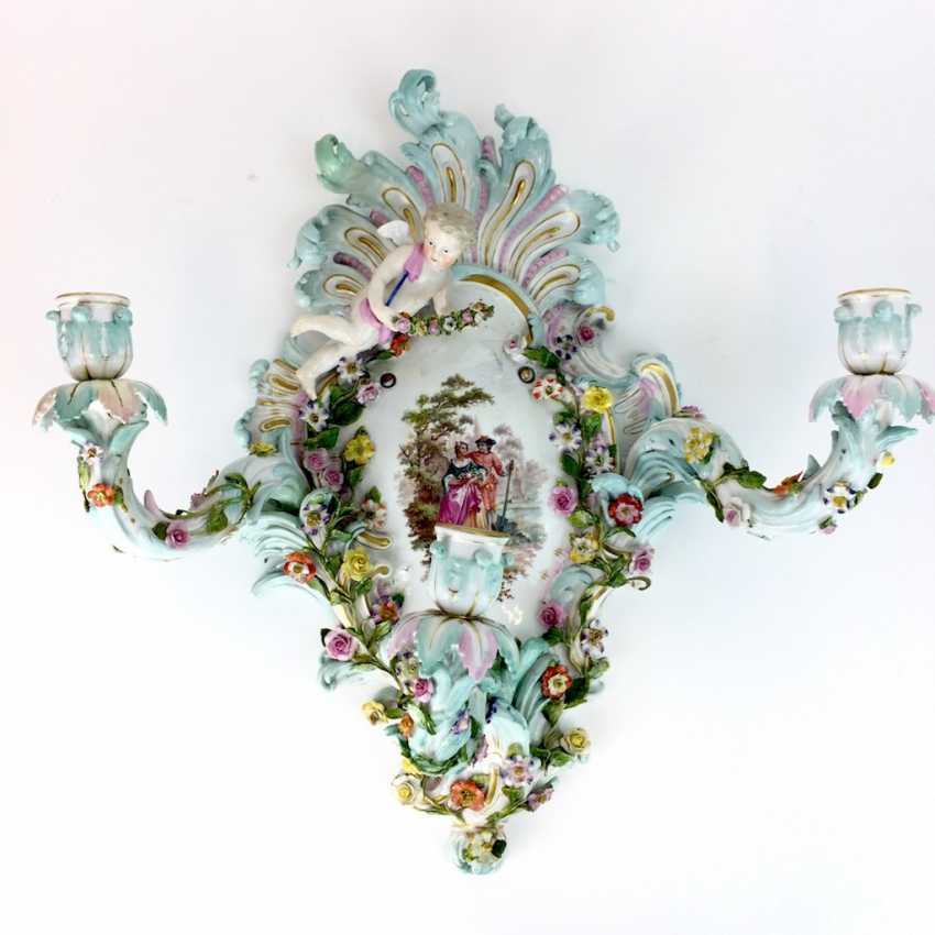 Magnificent wall sconces: Meissen porcelain, three decorated arms, Watteau painting, equipped-consuming, 1850's rare - photo 2
