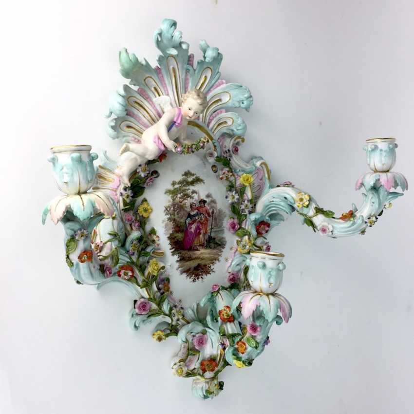 Magnificent wall sconces: Meissen porcelain, three decorated arms, Watteau painting, equipped-consuming, 1850's rare - photo 3