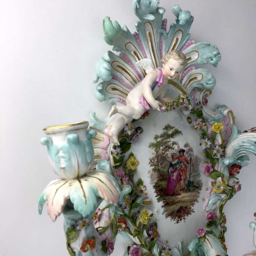 Magnificent wall sconces: Meissen porcelain, three decorated arms, Watteau painting, equipped-consuming, 1850's rare - photo 4