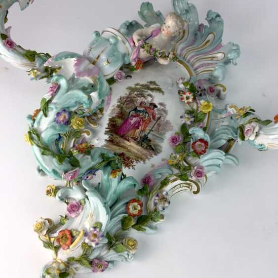 Magnificent wall sconces: Meissen porcelain, three decorated arms, Watteau painting, equipped-consuming, 1850's rare - photo 5