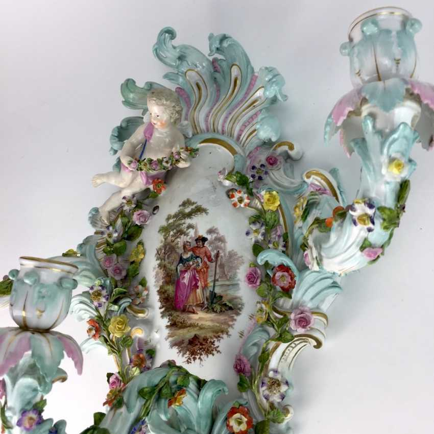 Magnificent wall sconces: Meissen porcelain, three decorated arms, Watteau painting, equipped-consuming, 1850's rare - photo 6