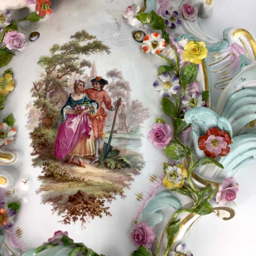 Magnificent wall sconces: Meissen porcelain, three decorated arms, Watteau painting, equipped-consuming, 1850's rare - photo 7