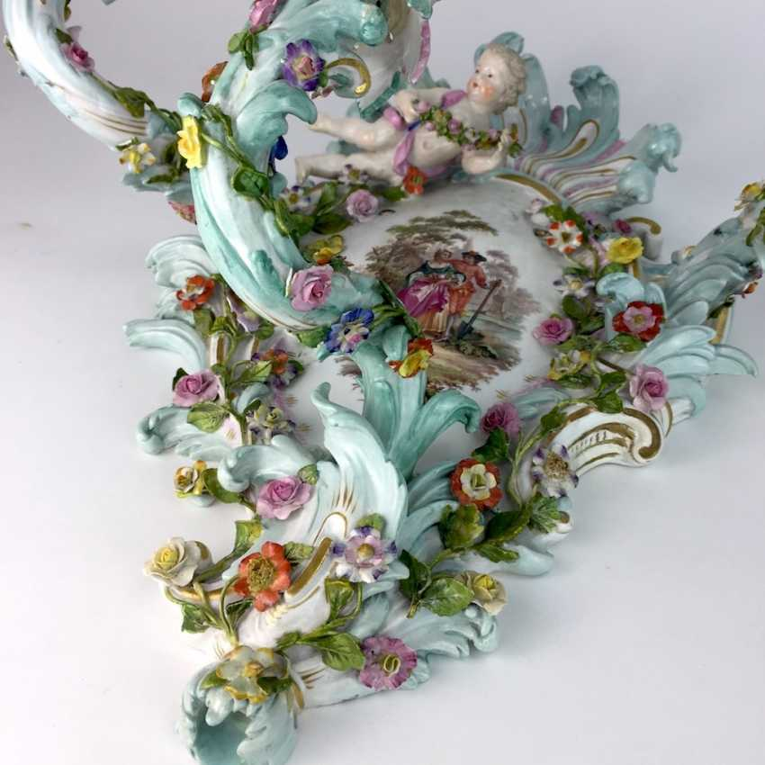 Magnificent wall sconces: Meissen porcelain, three decorated arms, Watteau painting, equipped-consuming, 1850's rare - photo 8