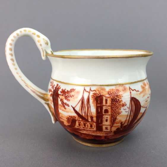 Empire Place: Meissen, porcelain, Swan Henkel, decor port, prospectus, gold edge, 1850, 1. Choice, very well. - photo 5