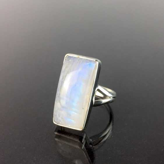 Women's ring: silver 925, rectangular moon stone in the smooth frame version, divided ring shoulders, solid hand work. - photo 1