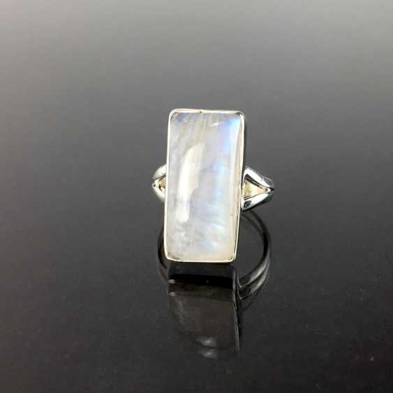 Women's ring: silver 925, rectangular moon stone in the smooth frame version, divided ring shoulders, solid hand work. - photo 2