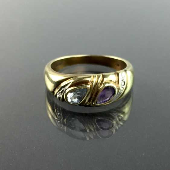Ladies ring with Amethyst and Topaz and brilliant-cut diamonds, yellow gold and white gold 333, very good. - photo 1