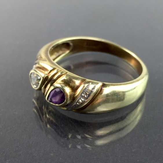 Ladies ring with Amethyst and Topaz and brilliant-cut diamonds, yellow gold and white gold 333, very good. - photo 2