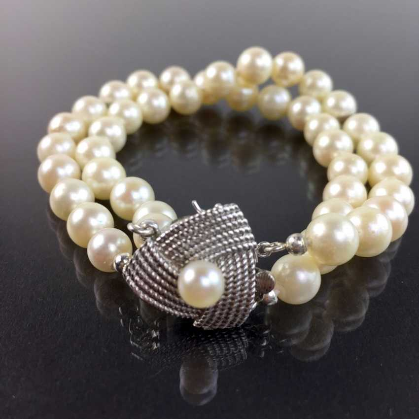 Elegant double row pearl bracelet / pearl bracelet: Akoya pearls, handmade clasp silver 925 rhodium plated, very good. - photo 1