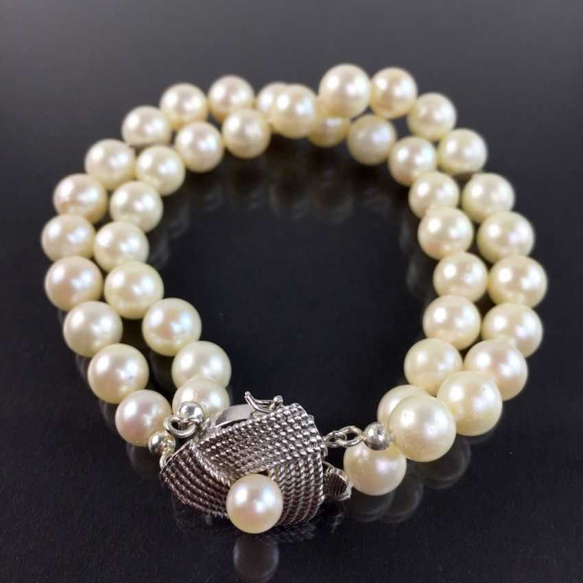 Elegant double row pearl bracelet / pearl bracelet: Akoya pearls, handmade clasp silver 925 rhodium plated, very good. - photo 2