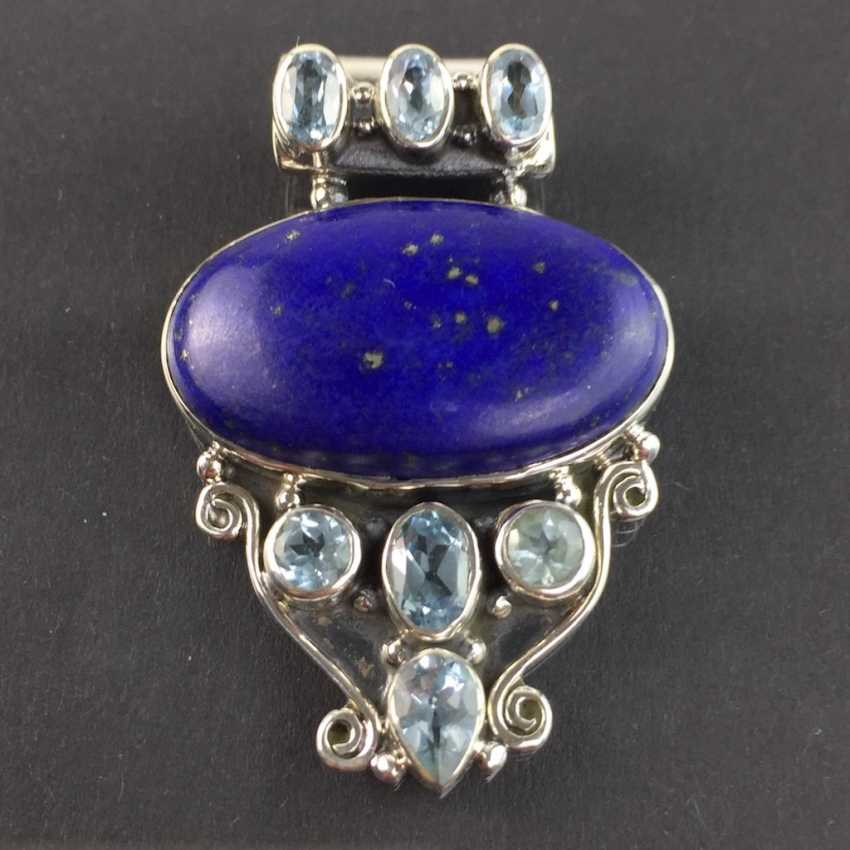 Of good hand work pendant with Lapis-Laziuli and Topaz, 925 sterling silver, rhodium-plated, very dokortiv. - photo 1
