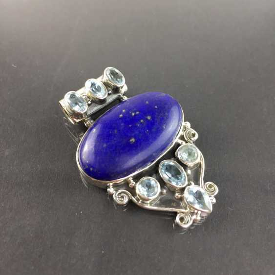 Of good hand work pendant with Lapis-Laziuli and Topaz, 925 sterling silver, rhodium-plated, very dokortiv. - photo 2