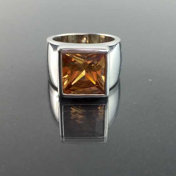 Modern fancy ladies ring with large orange-coloured cubic Zirconia Princess Cut 925 sterling silver rhodium plated, very good. - photo 1