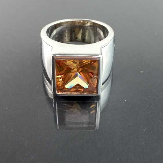 Modern fancy ladies ring with large orange-coloured cubic Zirconia Princess Cut 925 sterling silver rhodium plated, very good. - photo 2
