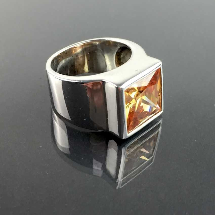 Modern fancy ladies ring with large orange-coloured cubic Zirconia Princess Cut 925 sterling silver rhodium plated, very good. - photo 3