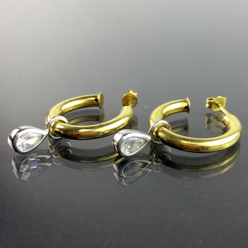 Elegant stud earrings / drop earrings / Hoop earrings: silver plated with rhinestone drop, very nice. - photo 1