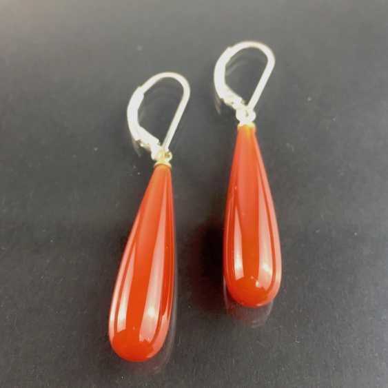Modern elegant carnelian earrings, silver 925, very good. - photo 2