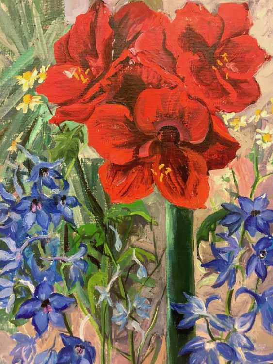 "Anni Jung: ""Amaryllis with summer knight porn"", Oil on canvas, 2000, in the context, very well. - photo 1"