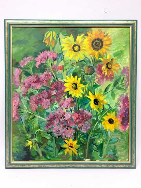 "Anni Jung: ""sunflowers"", Oil on canvas, 2000, in the context, very well. - photo 2"