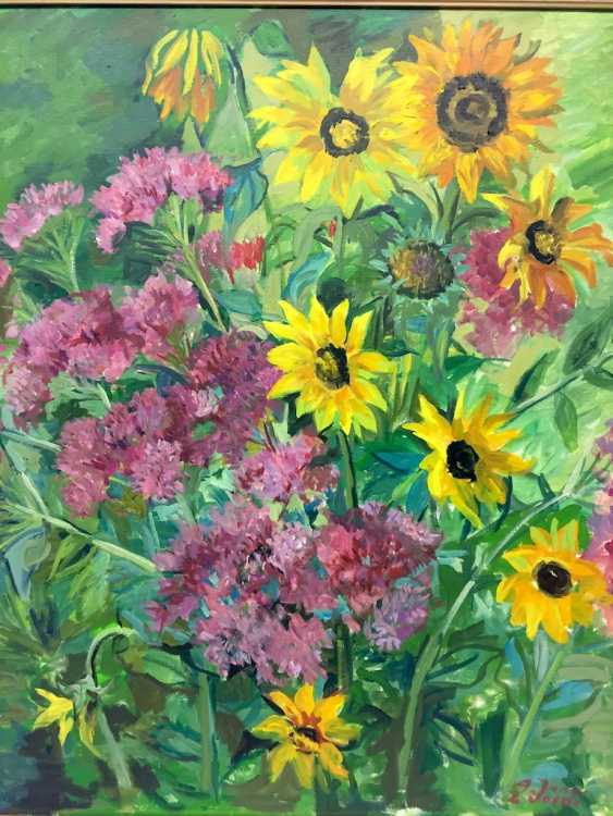 "Anni Jung: ""sunflowers"", Oil on canvas, 2000, in the context, very well. - photo 3"