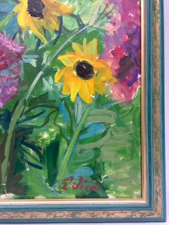 "Anni Jung: ""sunflowers"", Oil on canvas, 2000, in the context, very well. - photo 4"