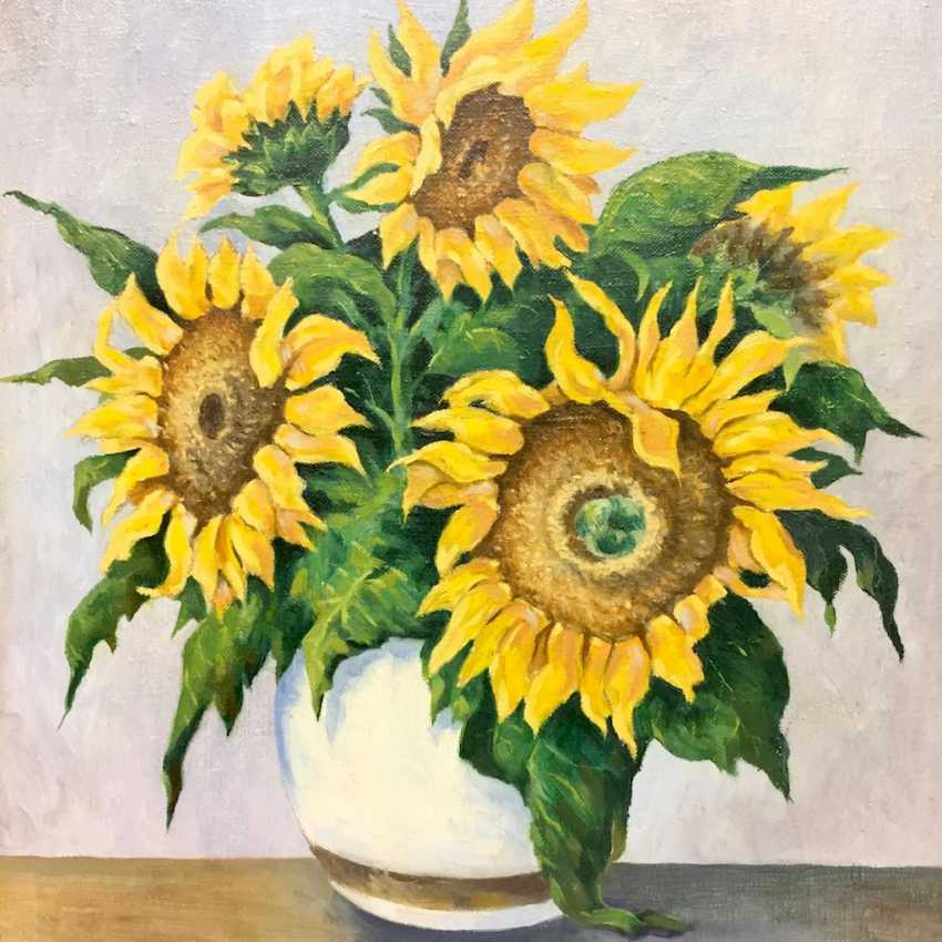 Monogram mist: style life / Still-life with sunflowers, Oil on canvas, in wooden frame, very good. - photo 1