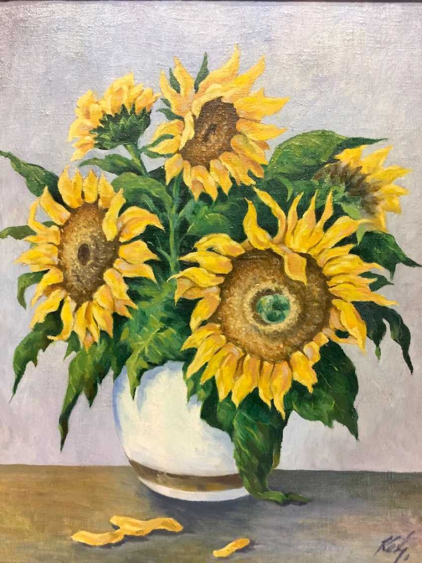 Monogram mist: style life / Still-life with sunflowers, Oil on canvas, in wooden frame, very good. - photo 2