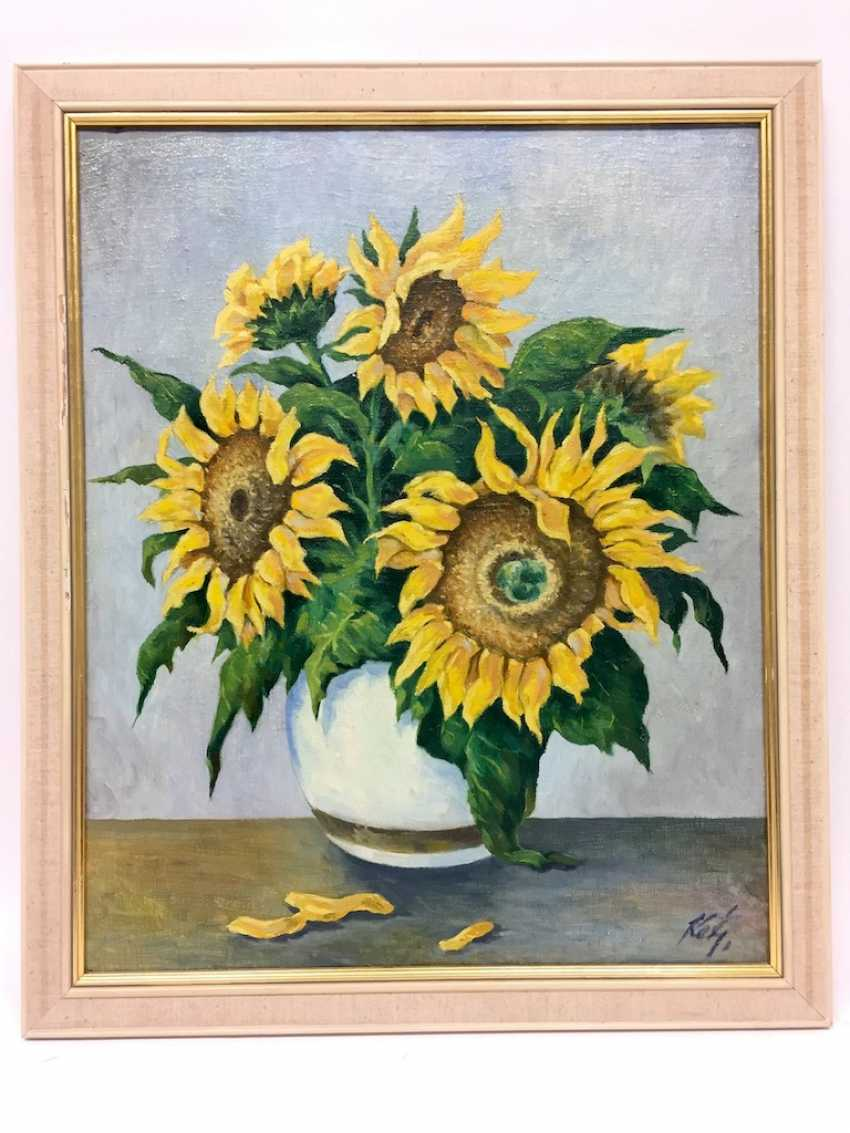 Monogram mist: style life / Still-life with sunflowers, Oil on canvas, in wooden frame, very good. - photo 3
