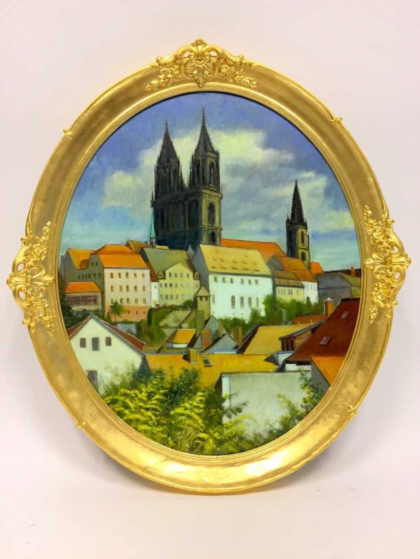"""J. Folhlert: """"romantic Meißen"""" / castle on the hill with the Meissen Cathedral and Albrechtsburg castle, Oil on masonite, gilt frame. - photo 1"""