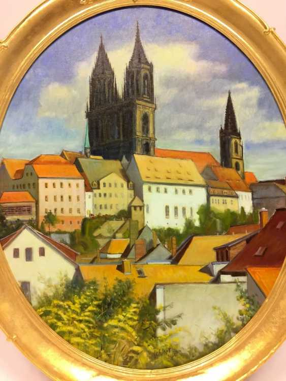 """J. Folhlert: """"romantic Meißen"""" / castle on the hill with the Meissen Cathedral and Albrechtsburg castle, Oil on masonite, gilt frame. - photo 2"""