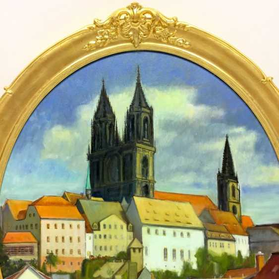 """J. Folhlert: """"romantic Meißen"""" / castle on the hill with the Meissen Cathedral and Albrechtsburg castle, Oil on masonite, gilt frame. - photo 4"""