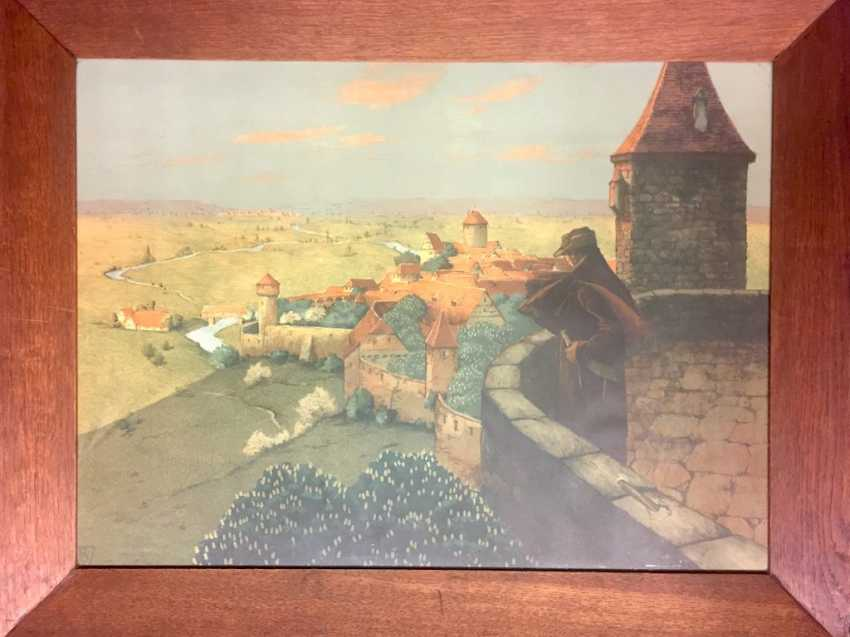 """Walter Strich-Chapell: """"The Tower Room"""", Colour Lithograph. Karlsruhe 1905. In the wide, oak wood frame behind glass, very good - photo 1"""