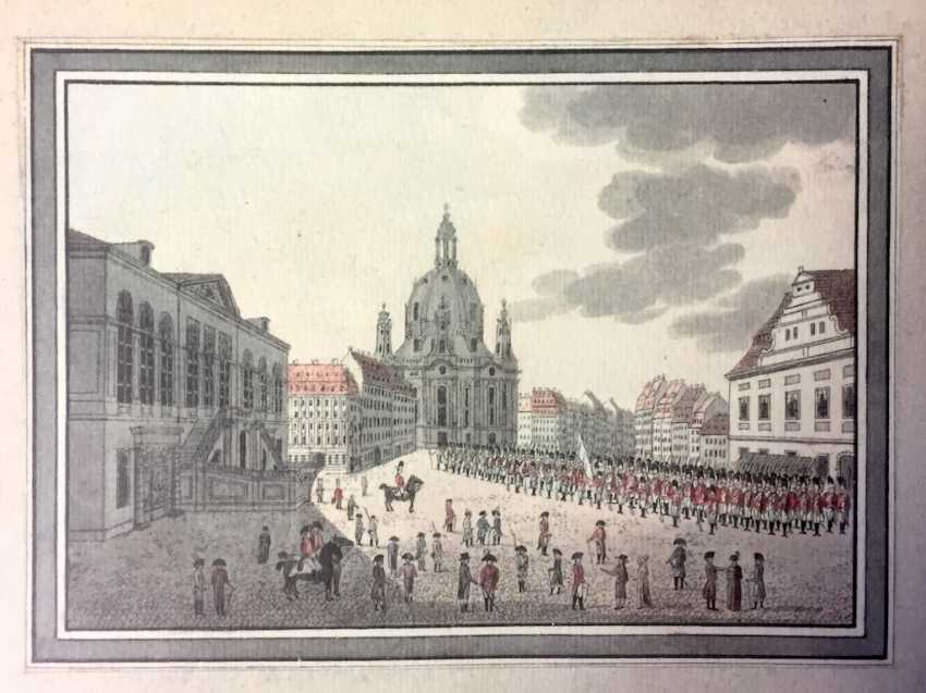 "Unknown. Artist: ""Parade of the Prince-elector of Saxony Leib-Grenadier guard, on the Neumarkt square in Dresden"", reproduction. - photo 1"