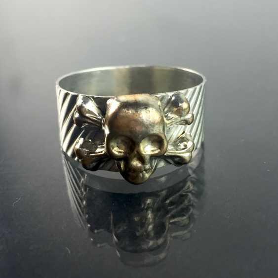 Ring with Skull and crossbones / skull / Skull, silver 900, Rockabilly. - photo 1