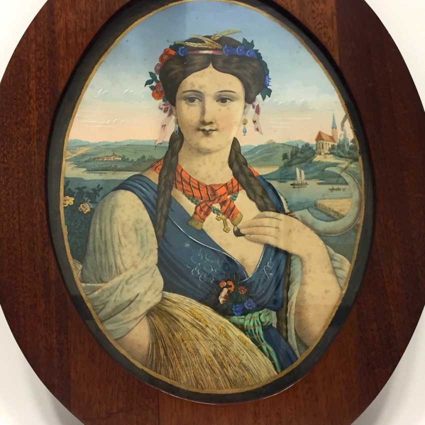 """German artists: an allegory Of """"summer"""", lithograph / chrome-lithography, Biedermeier, around 1830, very nice. - photo 1"""