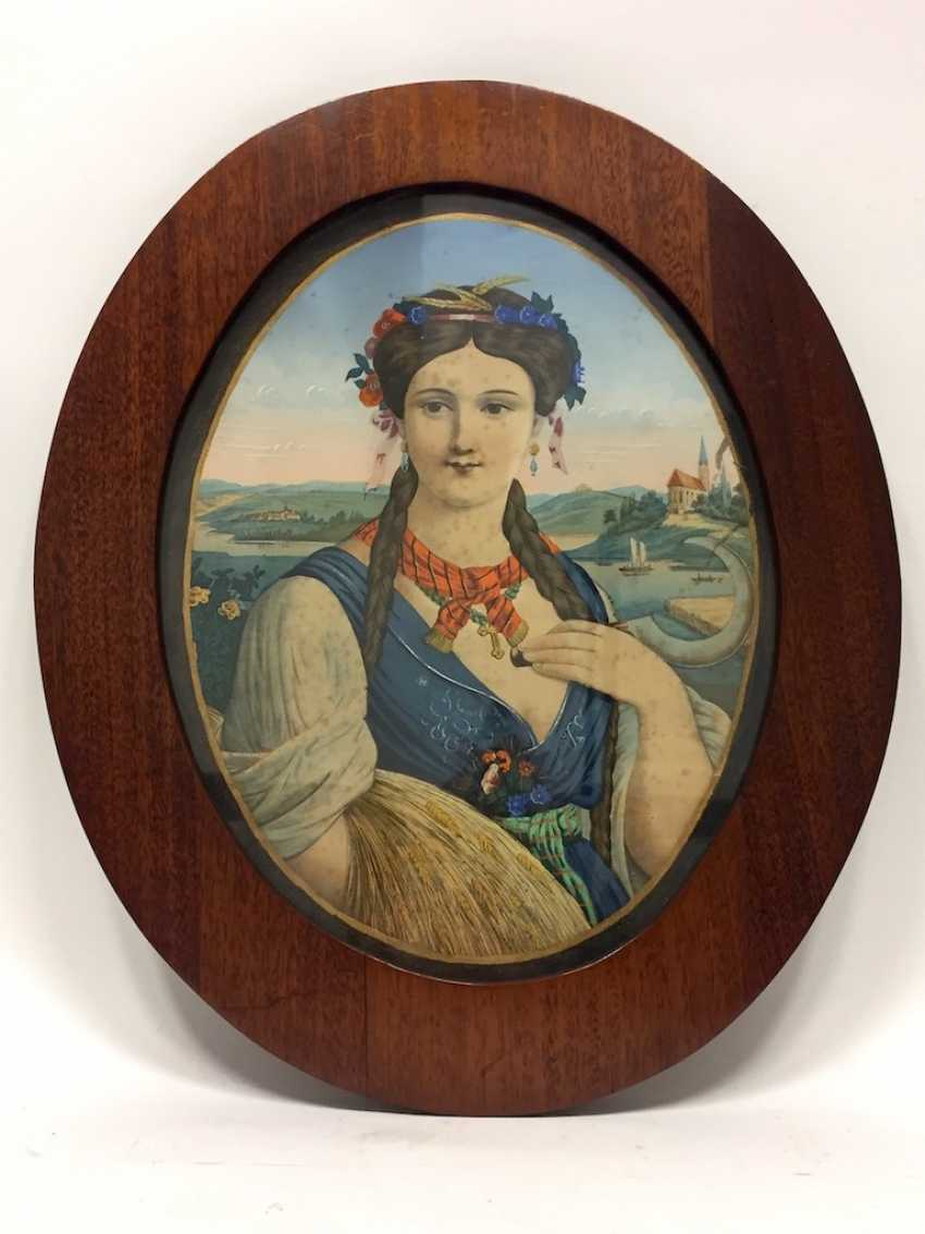"""German artists: an allegory Of """"summer"""", lithograph / chrome-lithography, Biedermeier, around 1830, very nice. - photo 3"""