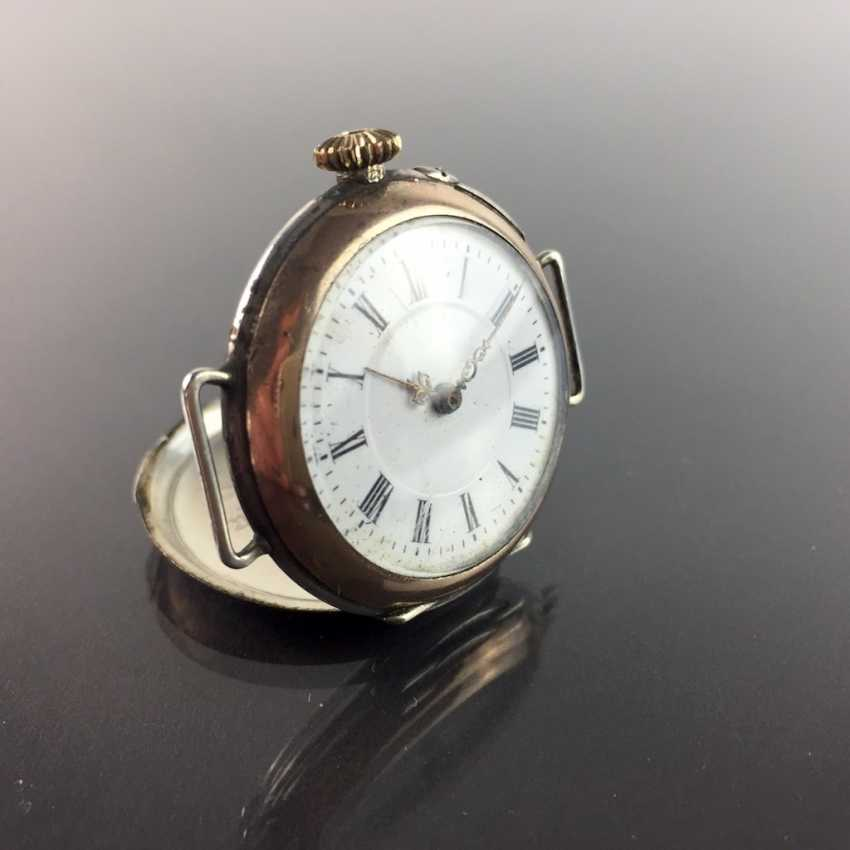 Ladies FOB watch / ladies wrist watch: silver 800, gold edge (Galonné), finely engraved, cylinder escapement, 1900, very good - photo 1